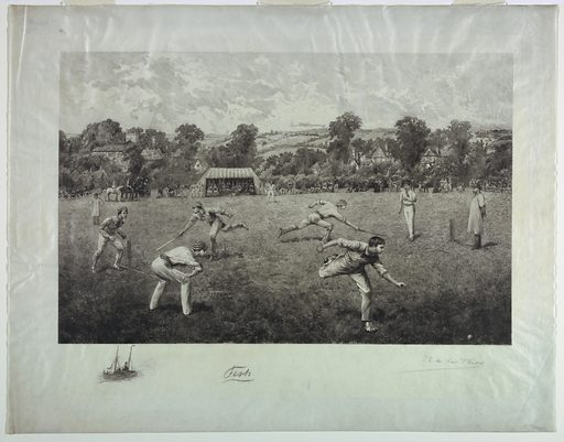 Young men playing cricket on a large field. A tent, center, and people lined up along the edge of the field. A village, left, and hills beyond. Lower left, a boat, with the artist's name (in graphite), lower right. Print maker: Ricardo de los Ríos, Spanish, 1847 – 1929. Made in: Paris, France. Date: 1880s. Record ID: chndm_1962-143-96.
