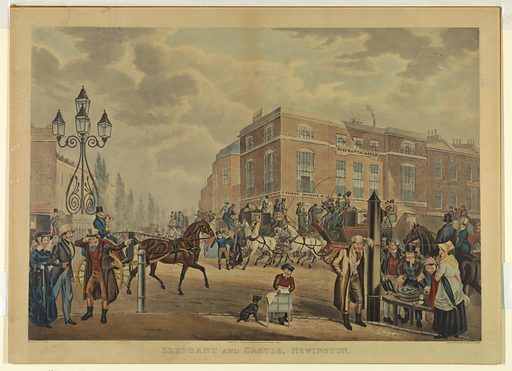 Busy London street corner, seen from opposite the Elephant and Castle Tavern. In the foreground, right, people eating oysters from a wooden tub on the sidewalk. One man holds a sauce bottle. Artists' and publisher's names, title, and date below. Made in: London, England. Date: 1820s. Record ID: chndm_1962-143-99.
