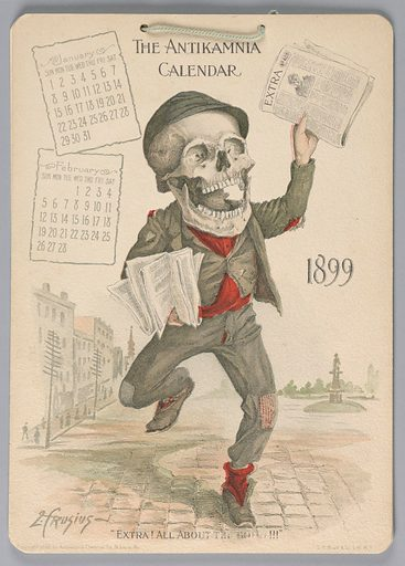 """The Antikamnia Calendar, January and February, 1899: """"Extra! All About the Roh! !!"""""""