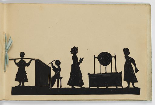 "Ten silhouettes of genre scenes, children and putti in various occupations. End paper bears the inscription: ""Harry W. A. Littledale / from his affectional Grand-mam"". (A note states that Littledale sat for his silhouette portrait to A. Edoart in September, 1826). Made in: England. Date: 1820s. Record ID: chndm_1961-105-78."