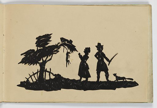 """Ten silhouettes of genre scenes, children and putti in various occupations. End paper bears the inscription: """"Harry W. A. Littledale / from his affectional Grand-mam"""". (A note states that Littledale sat for his silhouette portrait to A. Edoart in September, 1826). Made in: England. Date: 1820s. Record ID: chndm_1961-105-78."""