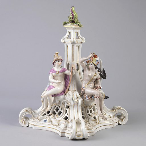 Figures of Asia, Europe, Africa, and America placed on four sides of pierced, scrolled pedestal with fruit finial in center. Date: 1760s. Record ID: chndm_1960-1-50.