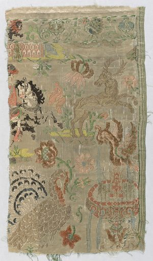 """Figured cream-colored silk brocaded in colored silks and chenille. In component """"a"""" the design shows a hunter, ship, bird on flowers, and a lion. For component """"b"""" the design in incomplete and shows a stag, peacock, flowers, and a fountain. Date: 1700s. Record ID: chndm_1962-56-13-a_b."""