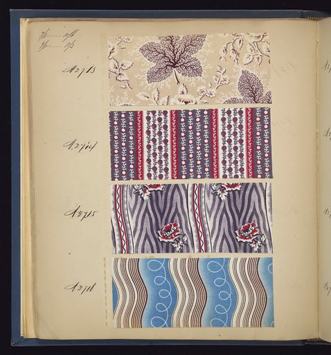 "Blue cloth bound volume of 574 numbered samples of printed cottons. Title page has three book plates. Book title: ""Cotton Prints Samples."" Largely small patterns of plaids, florals and stripes of many colors. Made in: France. Date: 1840s. Record ID: chndm_1973-6-5."