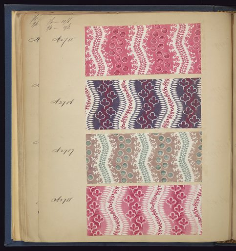 """Blue cloth bound volume of 574 numbered samples of printed cottons. Title page has three book plates. Book title: """"Cotton Prints Samples."""" Largely small patterns of plaids, florals and stripes of many colors. Made in: France. Date: 1840s. Record ID: chndm_1973-6-5."""