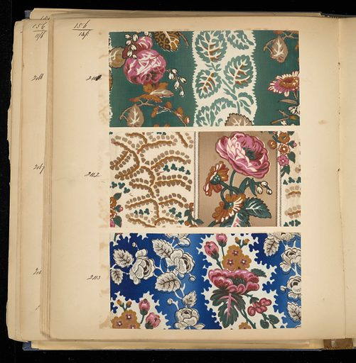 """Blue cloth bound volume of 366 numbered samples of printed cotton. Samples of floral and plaid stripes. Title page has two book plates. Book title: """"Cotton Prints Samples"""". Made in: France. Date: 1850s. Record ID: chndm_1973-6-6."""