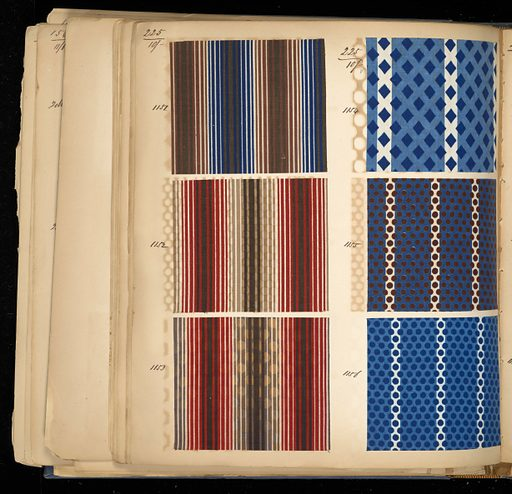 "Blue cloth bound volume of 366 numbered samples of printed cotton. Samples of floral and plaid stripes. Title page has two book plates. Book title: ""Cotton Prints Samples"". Made in: France. Date: 1850s. Record ID: chndm_1973-6-6."