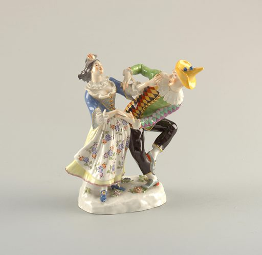 Dancing Harlequin and Columbine of the Commedia dell'Arte. Date: 1800s. Record ID: chndm_1979-83-1.