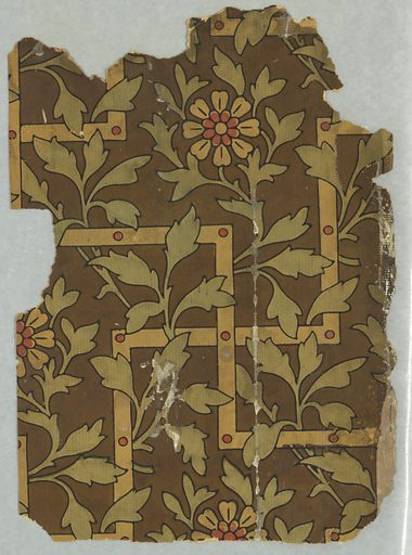 Aesthetic-style paper with leaves and trellis. Date: 1880s. Record ID: chndm_1992-152-1-a_b.