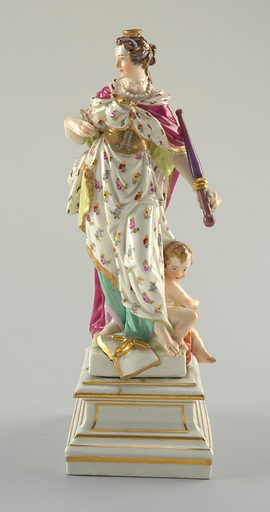 """""""Europe"""" standing female figure, wearing erine and crown, holding goose pen and sceptre; attended by putto, leaning on globe; attributes: book and sword; square pedestal. Date: 1770s. Record ID: chndm_1960-1-44-b-1_2."""