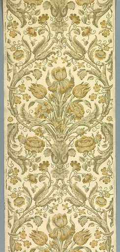 Enclosed within a diaper framework of acanthus foliage is a bouquet containing iris, tulip, rose and carnation flowers. The design is printed in a monochrome scale of tans with metallic gold highlights on an off-white satin or polished ground. Date: 1900s. Record ID: chndm_2009-25-1.