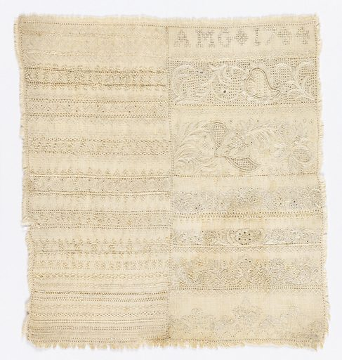Rectangle of rather heavy cream linen, worked in linen in rows of many embroidery stitches, drawnwork. and a few bands of floral designs. At the top right, the initials AMG 1744. Made in: Mexico. Date: 1740s. Record ID: chndm_1957-180-84.