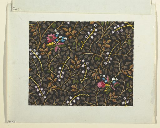 Small clusters of pink, blue and white flowers on black ground decorated with a leafy pattern and star motifs. Made in: France. Date: 1800s. Record ID: chndm_1957-46-11.