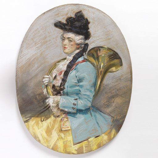 Three quarter protrait of a woman wearing a black hat, facing left. She is dressed in a blue coat, yellow skirt and white jabot. On her right arm she supports a brass hunting horn. Made in: USA. Date: 1890s. Record ID: chndm_1938-57-890.