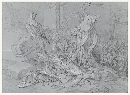 At the base of some stone building fragments, there is an arrangement of a dead lobster and a group of fish beneath a large fish and an eel dangling from a string affixed via a nail to the remains of the ruined wall. A live parrot, seen from the back, head turned in profile, is perched on a nearby stone at the upper left (above the marine still-life); plants, at right. Made in: France. Date: 1740s. Record ID: chndm_1938-66-1.