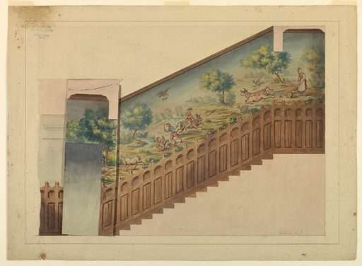 Design with Overlay for Portion of Stairway in Château-sur-Mer, Newport, Rhode Island. Made in: Paris, France. Date: 1870s. Record ID: chndm_1939-79-3-a_b.