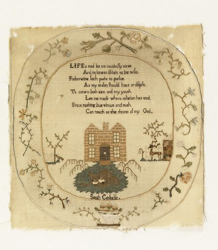 """Verse; landscape with house, trees, stag and ducks; signature """"Sarah Constable""""; in oval frame of flower sprays. Made in: England. Date: 1810s. Record ID: chndm_1941-69-85."""