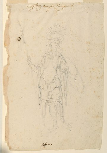 "Vertical rectangle. A young man is shown frontally, carrying a shield with his left hand, and a spear in his right one. Written in ink, on top: ""Sigr Co. Onofrio Campori,"" and an abbreviation; below: ""Africa"". Made in: Modena, Italy. Date: 1710s. Record ID: chndm_1942-3-18."