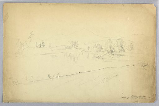 A shore near a pond with low banks and groups of trees. A raft of logs, right. Mountain beyond, center and right. Place, lower right. Made in: USA. Date: 1850s. Record ID: chndm_1942-50-275.