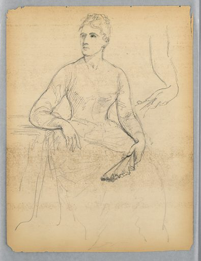 Woman seated facing frontally, with her right arm resting on a table and a fan in her left hand. She looks toward the left. The left arm repeated, upper right. Made in: USA. Date: 1870s. Record ID: chndm_1942-50-426-a.