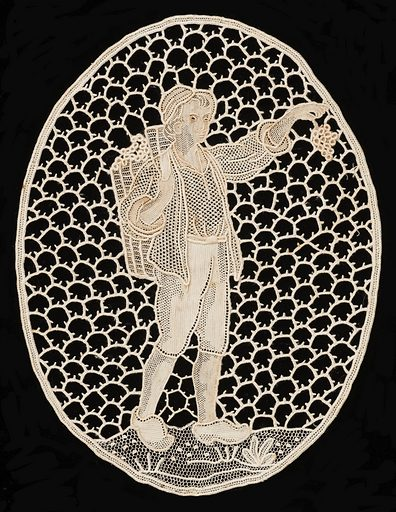 Oval shape of a man holding grapes. Made in: Belgium. Date: 1900s. Record ID: chndm_1942-71-10-d.