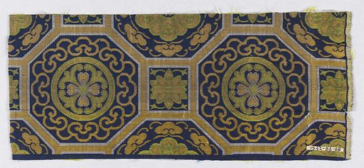 Navy ground with surface divided into octagonal areas with squares intervening. Both the squares and the octagons contain stylized floral forms. The entire pattern is composed of extra wefts of white, tan, gold, and chartreuse silks. Made in: Japan. Date: 1800s. Record ID: chndm_1942-86-68.