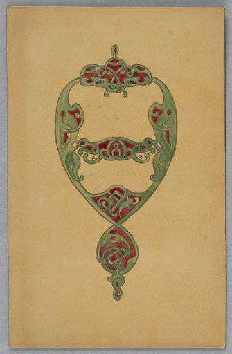 On yellow ground, green knotted design in shape of teardrop with red. Made in: USA. Date: 1900s. Record ID: chndm_1943-33-1-32.
