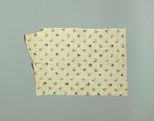Small scale flowers of eight different kinds printed in brown, red, blue, and light purple on white. Widely spaced all-over design. Made in: France. Date: 1800s. Record ID: chndm_1943-43-31-b.