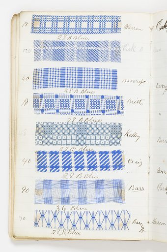 Small notebook with handwritten formulas for dyestuffs for printing textiles. Contains 624 small samples, mostly lawns. Date: 1870s. Record ID: chndm_1945-55-27.