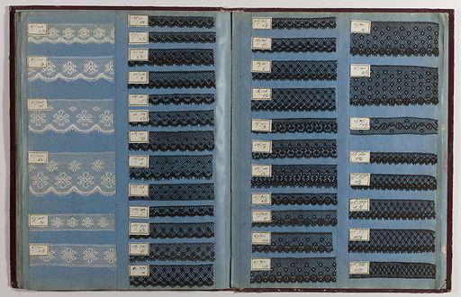 Printer's sample book with formulas for dyestuffs. Contains 114 samples in various designs including paisley. Made in: Lawrence, Massachusetts, USA. Date: 1870s. Record ID: chndm_1945-55-8.