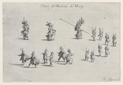 Procession of 17 figures moving from upper left to upper right and then to lower left. Figures include musicians and torch bearers. Made in: France. Date: 1620s. Record ID: chndm_1946-36-6.