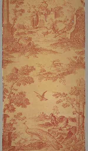 Textile printed in red on white showing a design composed of two motifs. A shepherd playing the flute sits on a ruin before a shepherdess with a spindle. Nearby animals recline. The other motif shows a peacock and other birds among ruins and trees. Made in: England. Date: 1760s. Record ID: chndm_1947-17-12-a.