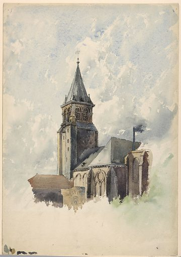View of the steeple and roof of the church of Saint-Germain-des-Prés in Paris. Made in: USA. Date: 1880s. Record ID: chndm_1947-17-3.