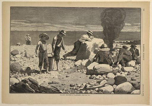 Two boys carrying a pail turn their heads away from the dead fish in the lower right, while a group of young boys on the beach build a fire. One prepares to steam or bake clams. Made in: USA. Date: 1870s. Record ID: chndm_1947-4-20.