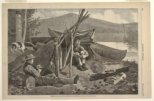 Two men, Rufus Wallace and unknown companion, sit before a bark lean-to on the Mink Pond shore in front of smudge fire to keep the insects away. Fishing paraphernalia including a canoe and a string of three fish can be found in the right middle ground, while a dog can be seen in the left middle ground. Made in: USA. Date: 1870s. Record ID: chndm_1947-4-24.