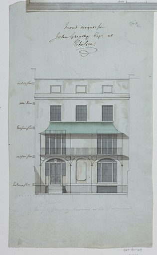 Front elevation of a house places on the lower portion of the sheet. Made in: England. Date: 1800s. Record ID: chndm_1948-40-107.