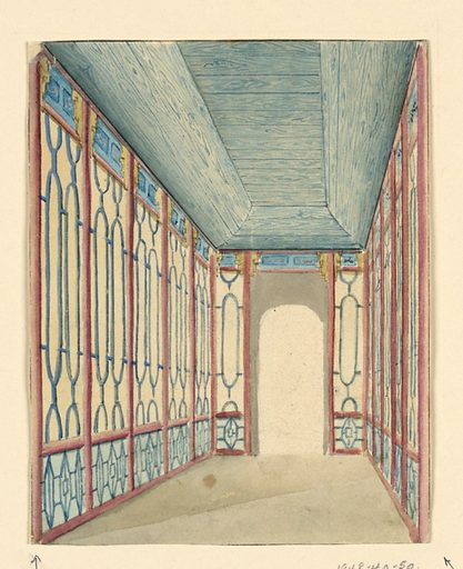 Perspective view of a narrow passageway, with an opening at the far end. The decoration of the wall consists of a painted design of columns, with lattice work patterns between them. Made in: England. Date: 1800s. Record ID: chndm_1948-40-50.