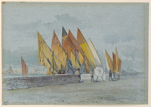 On a walled area along a canal several people observe an artist before his umbrella-covered easel. Brightly colored sails loom up in the background and buildings on the far side of the canal are seen, left. Made in: USA. Date: 1880s. Record ID: chndm_1948-47-12.