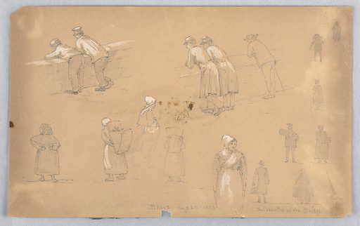 Various figures, top men overlooking a wall. Bottom, women on the way to market, silhouettes on a bridge, right. Made in: USA. Date: 1880s. Record ID: chndm_1948-47-161.