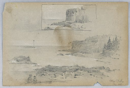 Enclosed scene of mountains, top. Bottom, larger scene looking out to sea, lower right two figures sitting. Made in: USA. Date: 1880s. Record ID: chndm_1948-47-249.