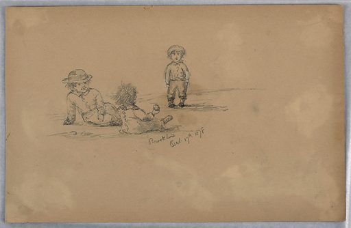 Three children playing in Brookline. Two are seated, left leans over facing front, right faces standing figure with round object in right hand. Right, standing figure with hat and arms by side. Made in: USA. Date: 1870s. Record ID: chndm_1948-47-275.