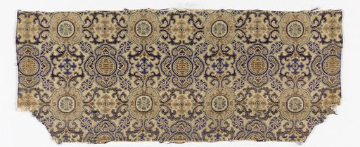 Allover geometrical design in blue and tan on a gray ground. Made in: China. Date: 1800s. Record ID: chndm_1949-92-8.