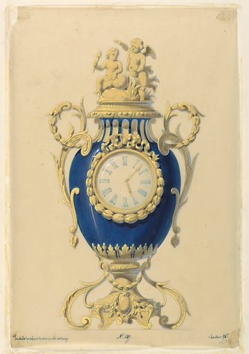 Front elevation; the body of the clock is a blue porcelain vase with the clock itself set on the face of it. the frame of the clock handles, lid base are bronze. Two bronze cupids surmount the lid. Made in: France. Date: 1840s. Record ID: chndm_1953-206-1.