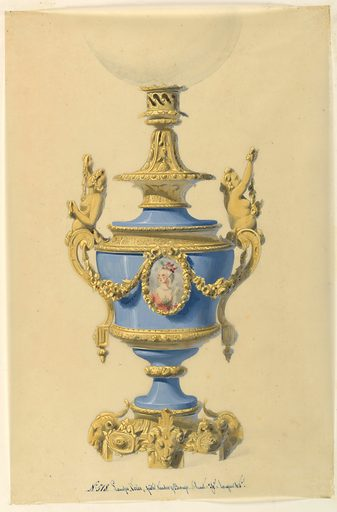"""The body of the lamp is a blue porcelain vase with a central field in the form of an oval containg a bust-length portrait of a woman. The portrait is enclosed in a bronze frame, flanked by garlands which are tied to the bronze handle mounts. Bronze base and fixture above holding a glass globe (partly shown.) At lower center: No. 518. Lampe """"Cares"""" pate tendre and Bronze. haut. 74c largeur 40c."""" (inscribed.). Made in: France. Date: 1840s. Record ID: chndm_1953-206-9."""