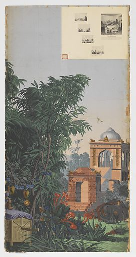 At left, a palanquin or hand-borne carriage resting on the ground. At right, background, a view of an esplanade in Calcutta, with steps leading to a temple. Two strips of a set of 20. Made in: Rixheim, Alsace, France. Date: 1800s. Record ID: chndm_1954-147-6.
