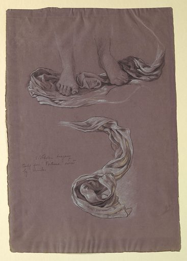 Sketch of drapery beneath the feet of a figure. Made in: USA. Date: 1890s. Record ID: chndm_1955-38-66.