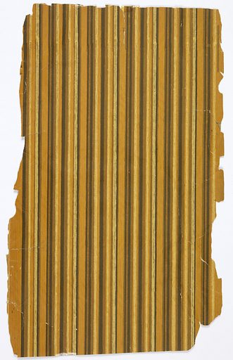 Pin-stripe sidewall papers: a) varnished, on oak woodgrain ground; c) varnished, deep rust and black stripe, simulates rose wood; d) yellow, rust and brown stripe, not varnished. Made in: France. Date: 1900s. Record ID: chndm_1972-42-118-c-1_2.