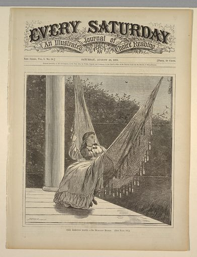 Young lady swinging in a hammock on a shaded porch of a country house. Robin in upper right singing among the foliage and a second bird flying in the sky above. Made in: USA. Date: 1870s. Record ID: chndm_1947-4-64.