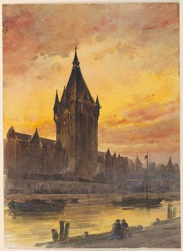 A river in the foreground, with a building group dominated by a large tower silhouetted against a summer sky. To figures in foreground. Made in: USA. Date: 1880s. Record ID: chndm_1948-47-11.