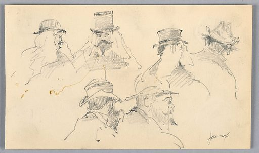 Six sketches of heads from various angles, profile, front, and behind. All with beard and mustache with hats. Some partially unfinished. Made in: USA. Date: 1890s. Record ID: chndm_1948-47-320.